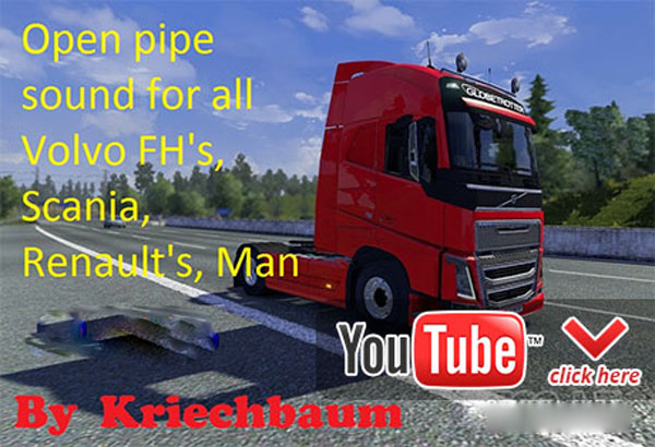 All Volvo FH, Scania, Renault, Man open pipe sound