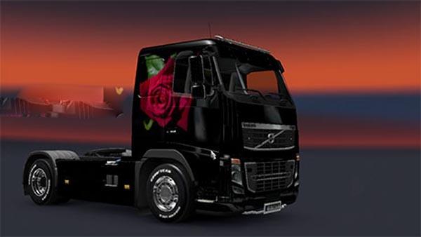 Volvo red romantic rose skin