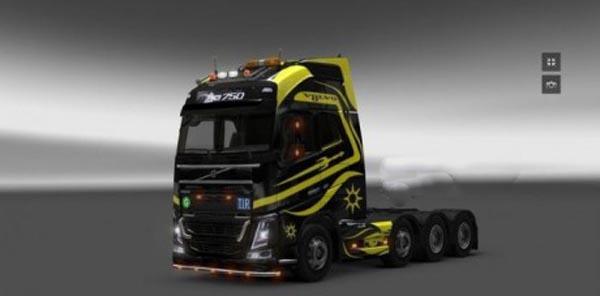 Volvo FH16 6×8 Black Yellow