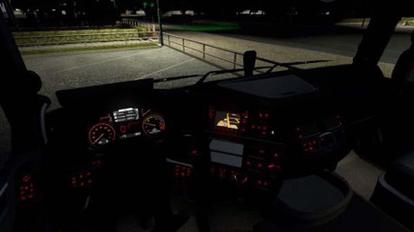 DAF XF Euro 6 Red Interior Lights