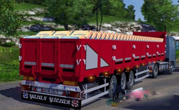 Trailer with construction materials