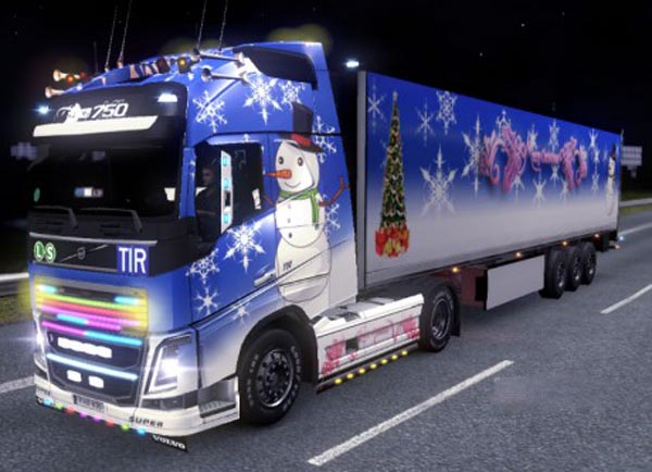 Volvo FH 2012 + KRONE Coolliner Christmas Skin