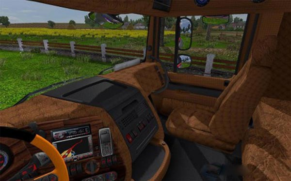Wood Leather and Carbon Interior for DAF XF