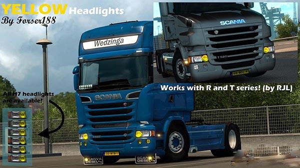 Yellow headlights for RJL