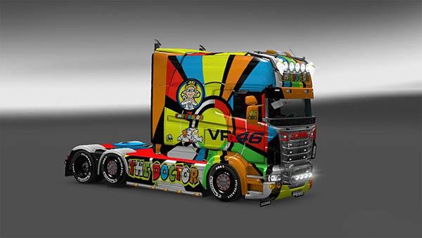 Skin Valentino Rossi Scania Rjl Longline